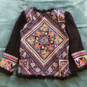 Billabong embroidered boho blazer